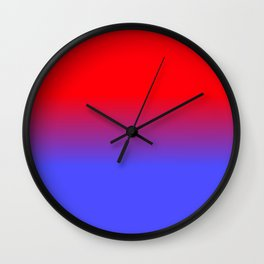 Neon Red and Bright Neon Blue Ombre Shade Color Fade Wall Clock