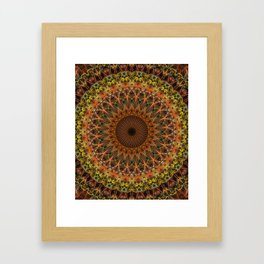 Brown and golden mandala Framed Art Print