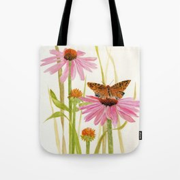 Pink Coneflower Butterfly Watercolor Tote Bag