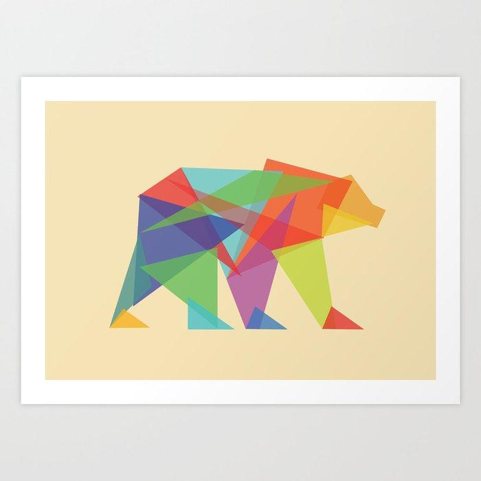 Fractal Geometric bear Art Print