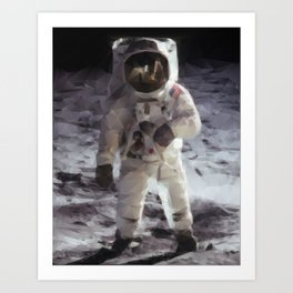 Buzz Aldrin on the Moon in Triangles Art Print
