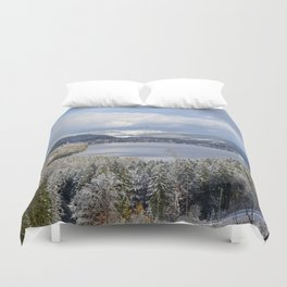 first snow on autumn leaves Duvet Cover