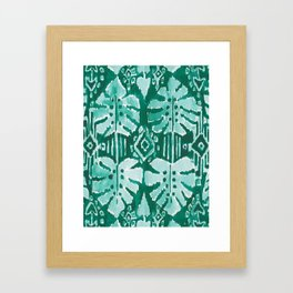 JUNGLE IKAT Green Tropical Monstera Framed Art Print