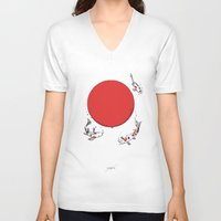sun V-neck T-shirts featuring Koi and Sun by Huebucket