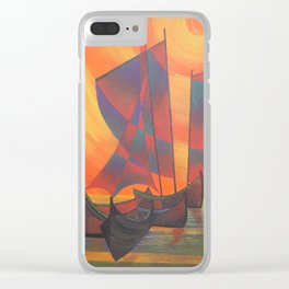 Red Sails in the Sunset Cubist Junk Abstract Clear iPhone Case