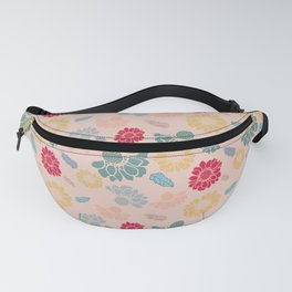 Colorful Flowers & Leaves on peach background Fanny Pack