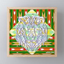 Green King Lion ecopop Framed Mini Art Print