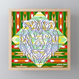 Green King Lion ecopop Framed Mini Art Print