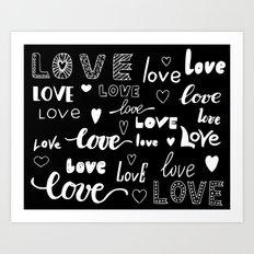 Full of love calligraphy valentine wall art print Art Print