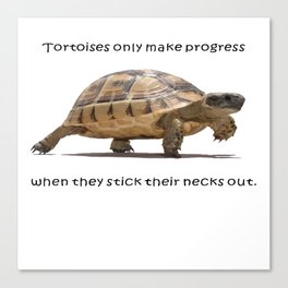 Tortoises Only Make Progress When They Stick Their Necks Out Canvas Print