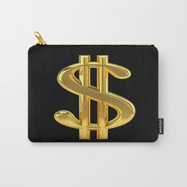 Gold Dollar Sign Black Background Carry-All Pouch