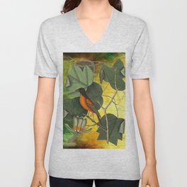 Baltimore Oriole on Tulip Tree, Vintage Natural History and Botanical Unisex V-Neck