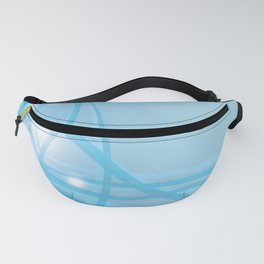 Blue background with beautiful smooth lines and lights. Lights and iridescent lines on a blue backgr Fanny Pack