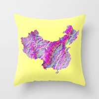china Throw Pillows featuring China by mthbt