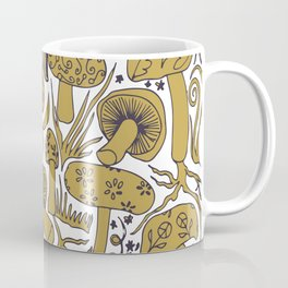 Mushroom Drawing in Ochre Coffee Mug