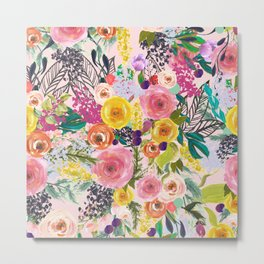 Autumn Blooms Colorful Painted Floral Print // Pink Metal Print