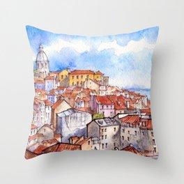 Lisbon panorama ink & watercolor illustration Throw Pillow
