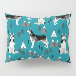 Husky siberian huskies mountains pet portrait dog dogs pet friendly dog breeds gifts Pillow Sham