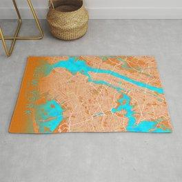 New York, NY, USA, Gold, Blue, City, Map Rug