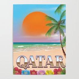 Qatar beach travel poster Poster