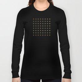 Gold Geometric Swiss Cross Pattern Long Sleeve T-shirt