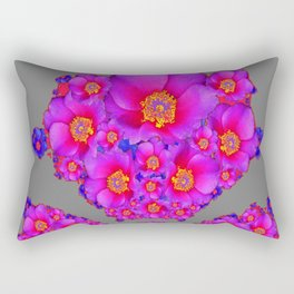 Modern Art Fuchsia Purple-Blue  Rose Flowers Grey Pattern Rectangular Pillow