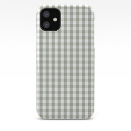 Desert Sage Grey Green and White Gingham Check iPhone Case