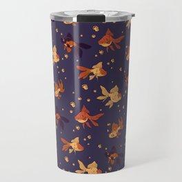 Purple Goldfish Pattern Travel Mug