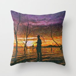Step in water Throw Pillow