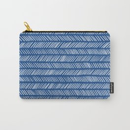 Prussian Blue Small Herringbone Drawing Carry-All Pouch