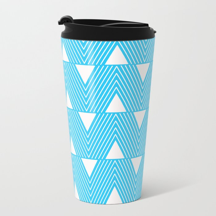 Triangles- Teal Triangle Pattern for hot summer days-Mix & Match Metal Travel Mug