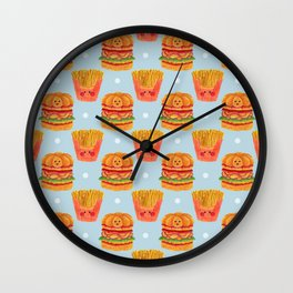 Hamburger and French Fries Pattern Wall Clock