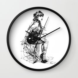 Lady on Cube. INK DELICACIES. ©Yury Fadeev Wall Clock
