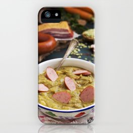 I - Traditional Dutch pea soup and ingredients on a rustic table iPhone Case