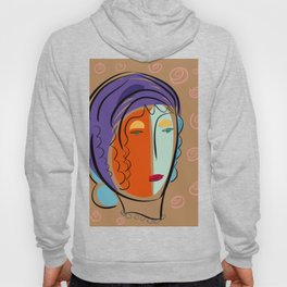 Minimal Expressionist Portrait Orange and Blue Hoody