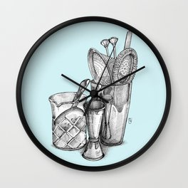 Bartender in turquoise Wall Clock