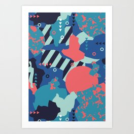 Vivid Collaged Geometric Tribal Abstract Geo Native Art Print