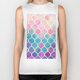 Rainbow Pastel Watercolor Moroccan Pattern Biker Tank