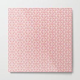 Coral and White Greek Key Pattern Metal Print
