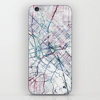 dallas iPhone & iPod Skins featuring Dallas map by MapMapMaps.Watercolors