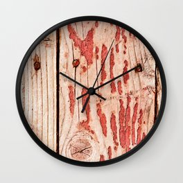 Rough Wooden Planks Painted Red Long Time Ago Wall Clock