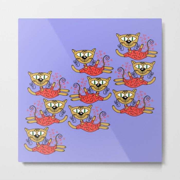 Cats in pink Metal Print