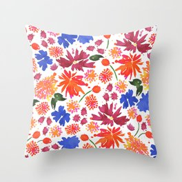 Wildflowers in Orange, Blue and Burgundy Throw Pillow