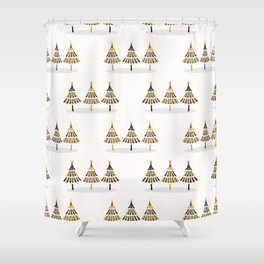 Festive Christmas Trees Star Pattern, Hand Drawn Seamless Vector Backdrop Shower Curtain