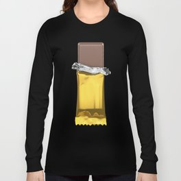 Chocolate candy bar in gold wrapper Long Sleeve T-shirt