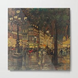 A Lovely Night in Paris, Portrait of Two women amid city lights painting by Konstantin Korovin Metal Print