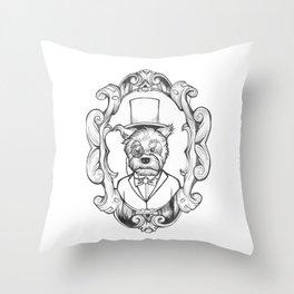 Gilles the dapper Schnauzer Throw Pillow