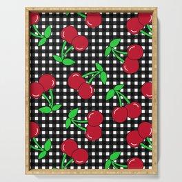 Rockabilly Black + White Gingham & Cherries Serving Tray