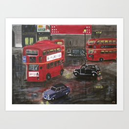 Evening in Piccadilly, London Art Print