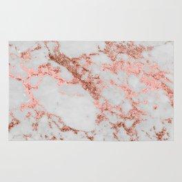 Stylish white marble rose gold glitter texture image Rug